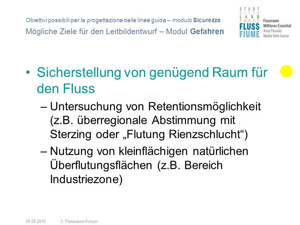30.09.20103. Flussraum-Forum Sicherstellung von genügend Raum für den Fluss –Untersuchung von Retentionsmöglichkeit (z.B. überregionale Abstimmung mit