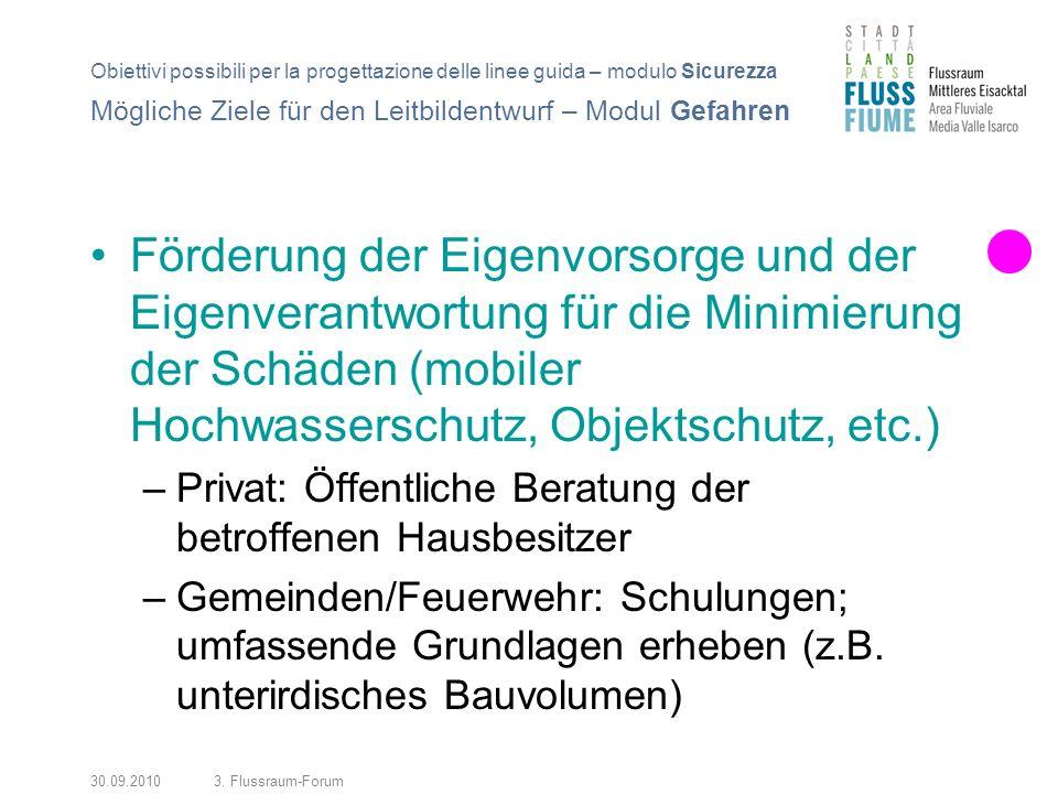 30.09.20103. Flussraum-Forum Förderung der Eigenvorsorge und der Eigenverantwortung für die Minimierung der Schäden (mobiler Hochwasserschutz, Objekts