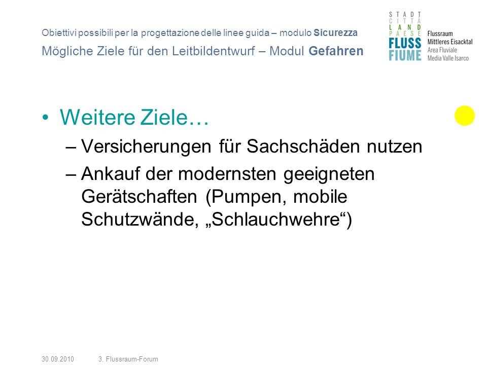 30.09.20103. Flussraum-Forum Weitere Ziele… –Versicherungen für Sachschäden nutzen –Ankauf der modernsten geeigneten Gerätschaften (Pumpen, mobile Sch