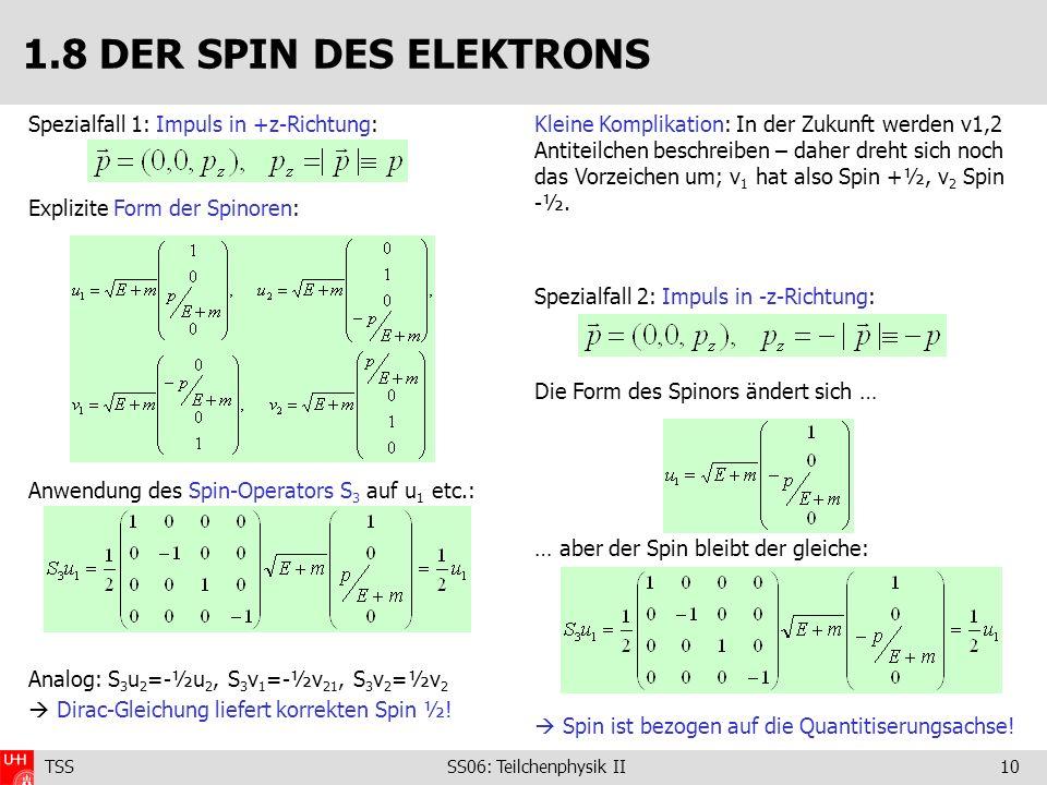 TSS SS06: Teilchenphysik II10 Spezialfall 1: Impuls in +z-Richtung: Explizite Form der Spinoren: Anwendung des Spin-Operators S 3 auf u 1 etc.: Analog