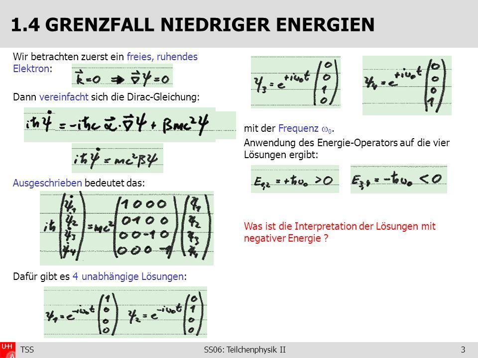 TSS SS06: Teilchenphysik II3 mit der Frequenz 0. Anwendung des Energie-Operators auf die vier Lösungen ergibt: Was ist die Interpretation der Lösungen