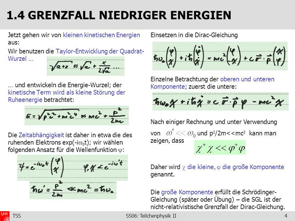 TSS SS06: Teilchenphysik II5 Geladenes Teilchen im Potential A, : Ersetzen des Impuls … … und Berücksichtigen der potentiellen Energie: Übergang zu Operatoren … … führt zu folgender Gleichung für die große Komponente: Das wiederum führt zur Pauli-Gleichung: Diese Gleichung beinhaltet sowohl den Spin als auch das magnetische Moment des Elektrons und seine Wechselwirkung mit dem B-Feld.