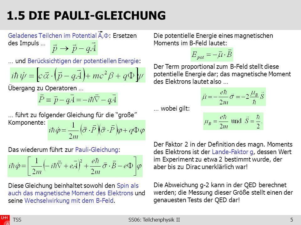 TSS SS06: Teilchenphysik II6 Definiere den kontravarianten Vierervektor: Beispiel: Viererimpuls p, Raumzeit x: Metrischer Tensor: Einsteinsche Summenkonvention und kovarianter Vierervektor: Vierervektor-Produkte sind lorentz-invariant: 1.6 KOVARIANTE SCHREIBWEISE Beispiel: Die Viererableitungen: Zur weiteren Komplikation setzt man: Man drückt also Geschwindigkeiten in Einheiten von c und Wirkungen in Einheiten des Plankschen Quantums aus!
