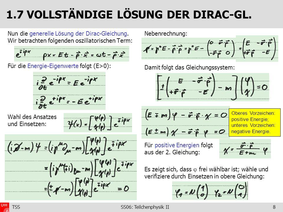 TSS SS06: Teilchenphysik II8 Nun die generelle Lösung der Dirac-Gleichung. Wir betrachten folgenden oszillatorischen Term: Für die Energie-Eigenwerte