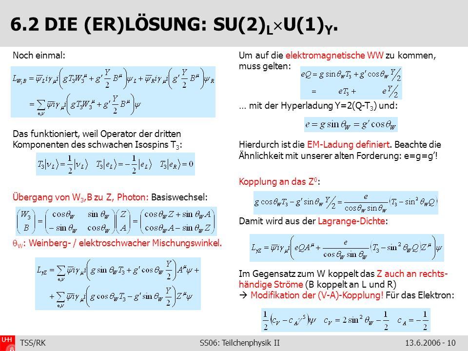 TSS/RK SS06: Teilchenphysik II 13.6.2006 - 10 Noch einmal: Das funktioniert, weil Operator der dritten Komponenten des schwachen Isospins T 3 : Überga