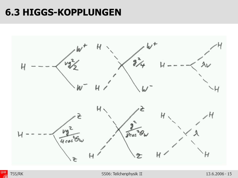 TSS/RK SS06: Teilchenphysik II 13.6.2006 - 15 6.3 HIGGS-KOPPLUNGEN