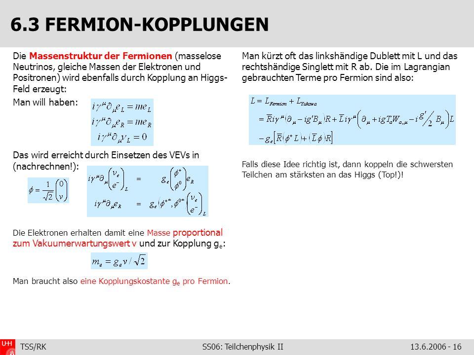 TSS/RK SS06: Teilchenphysik II 13.6.2006 - 16 Die Massenstruktur der Fermionen (masselose Neutrinos, gleiche Massen der Elektronen und Positronen) wir