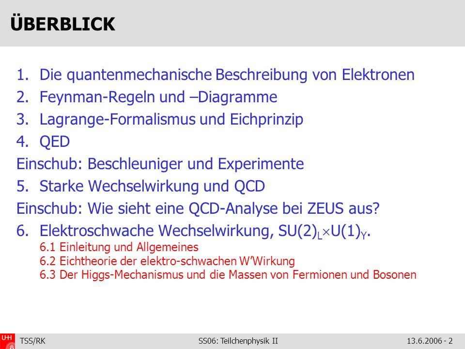 TSS/RK SS06: Teilchenphysik II 13.6.2006 - 2 ÜBERBLICK 1.Die quantenmechanische Beschreibung von Elektronen 2.Feynman-Regeln und –Diagramme 3.Lagrange
