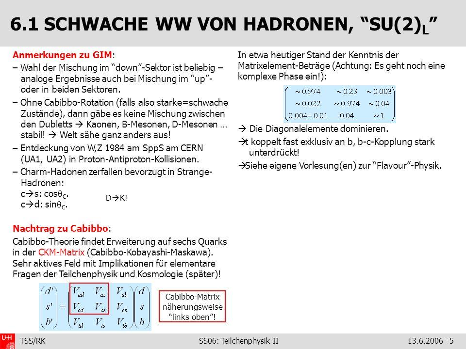 TSS/RK SS06: Teilchenphysik II 13.6.2006 - 5 Anmerkungen zu GIM: – Wahl der Mischung im down-Sektor ist beliebig – analoge Ergebnisse auch bei Mischun