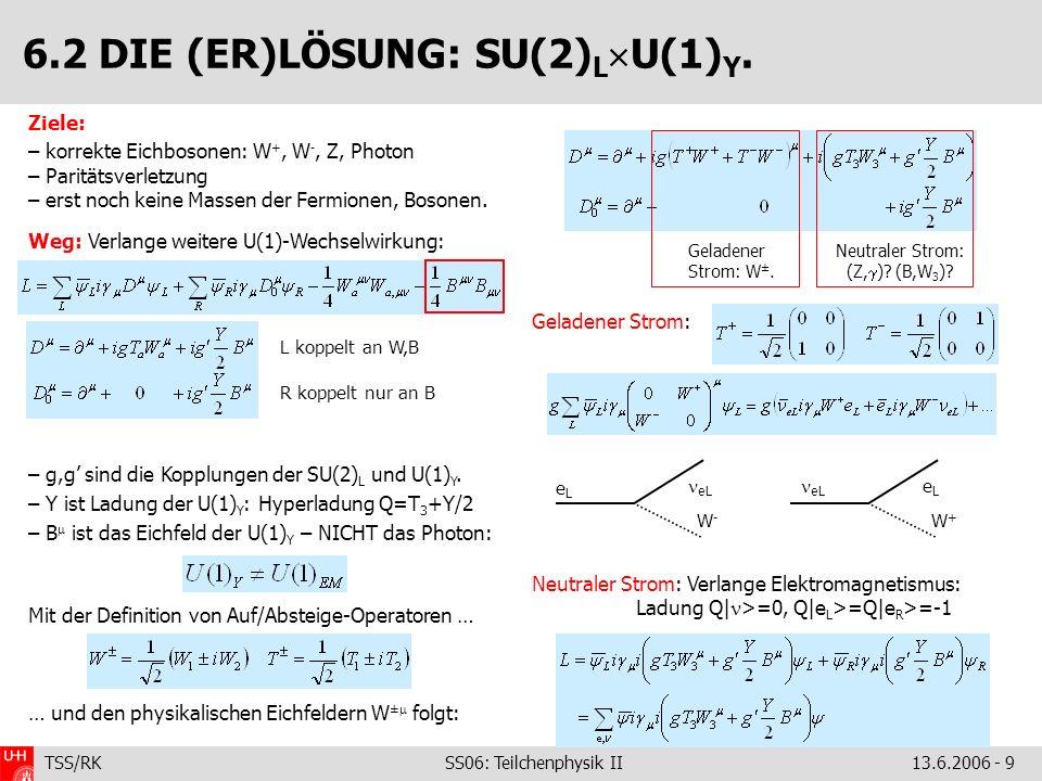 TSS/RK SS06: Teilchenphysik II 13.6.2006 - 9 Ziele: – korrekte Eichbosonen: W +, W -, Z, Photon – Paritätsverletzung – erst noch keine Massen der Ferm