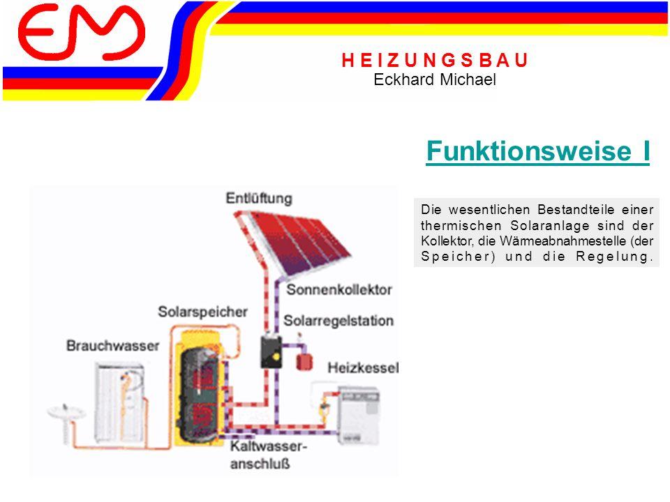 H E I Z U N G S B A U Eckhard Michael Die wesentlichen Bestandteile einer thermischen Solaranlage sind der Kollektor, die Wärmeabnahmestelle (der Speicher) und die Regelung.