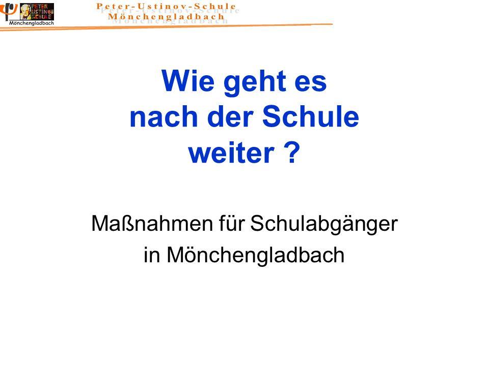 Wie geht es nach der Schule weiter ? Maßnahmen für Schulabgänger in Mönchengladbach