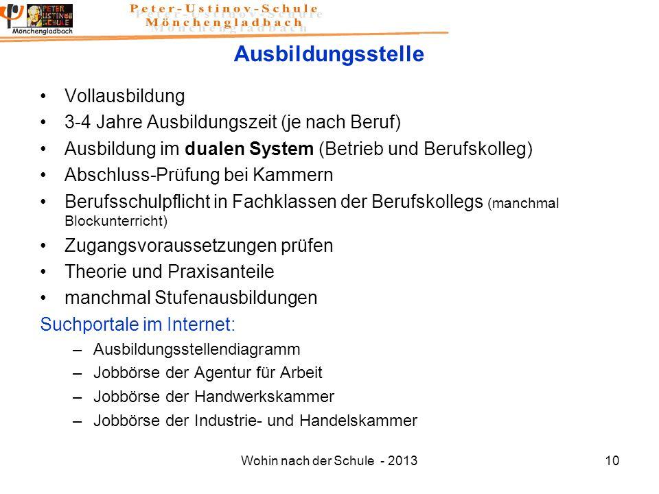 Wohin nach der Schule - 201310 Ausbildungsstelle Vollausbildung 3-4 Jahre Ausbildungszeit (je nach Beruf) Ausbildung im dualen System (Betrieb und Ber