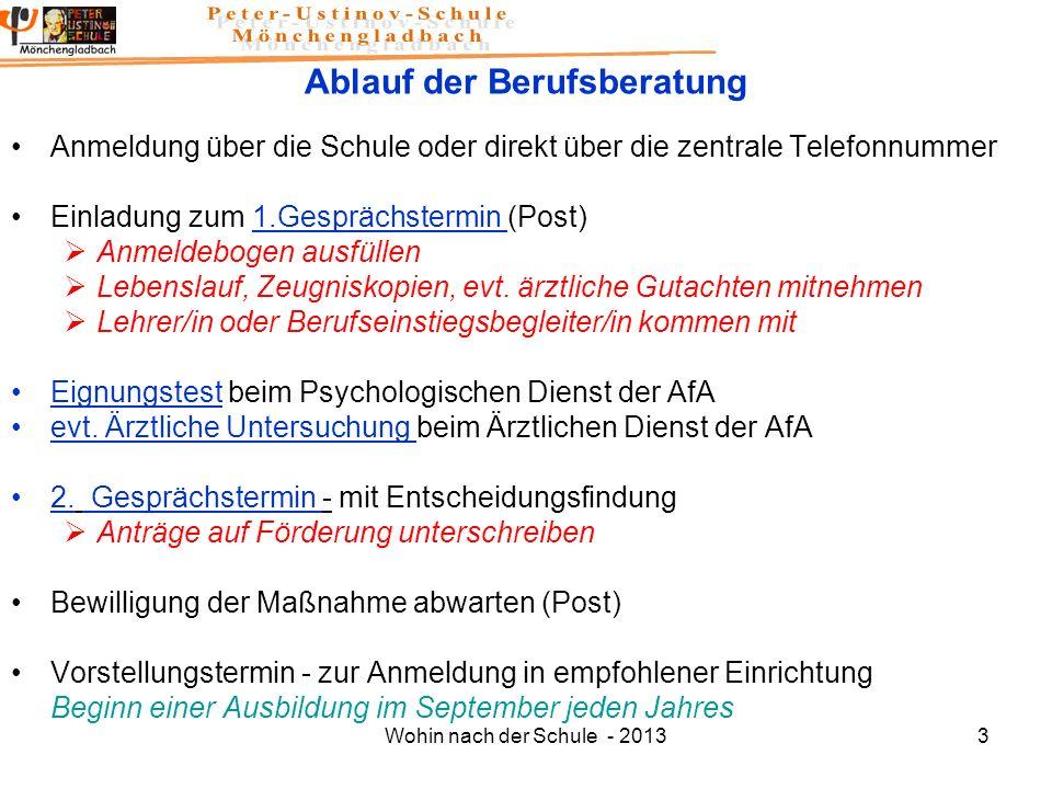 Wohin nach der Schule - 20133 Ablauf der Berufsberatung Anmeldung über die Schule oder direkt über die zentrale Telefonnummer Einladung zum 1.Gespräch