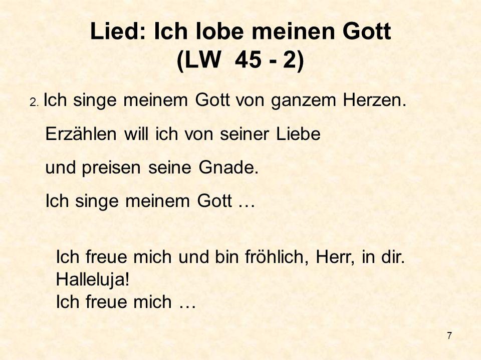 48 Lied: Geh unter der Gnade LW 96 - 1 1.Geh unter der Gnade, geh mit Gottes Segen; geh in seinem Frieden, was immer du tust.