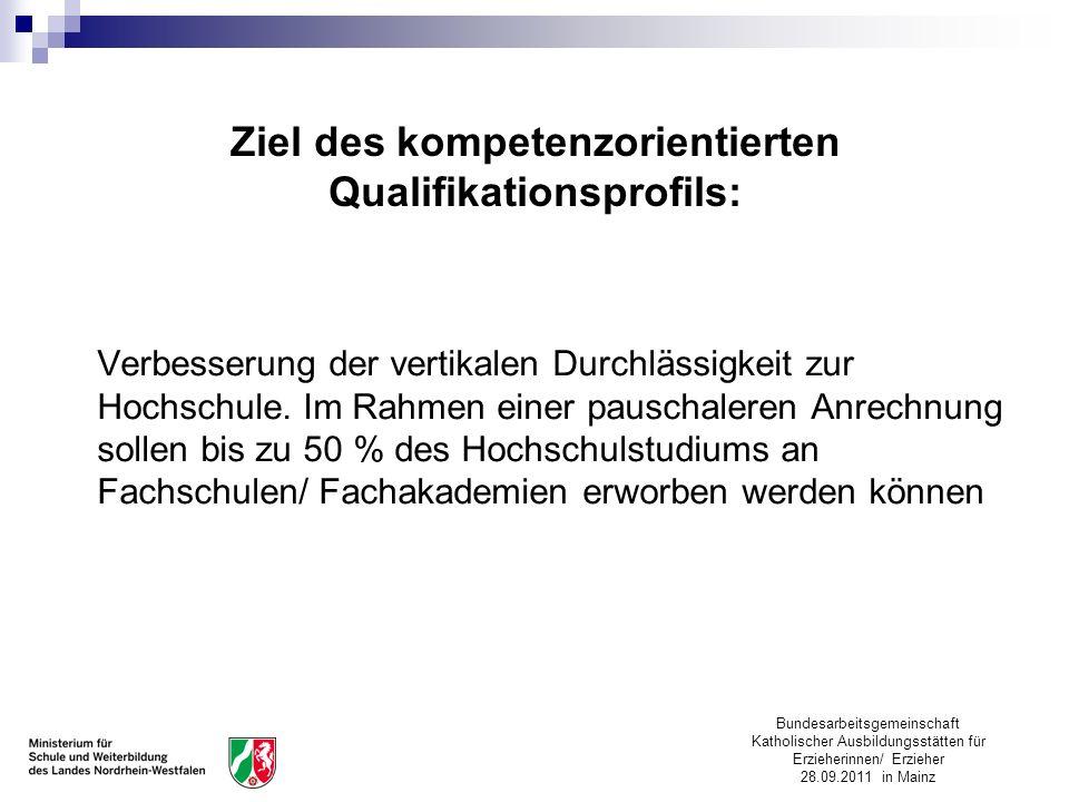 Bundesarbeitsgemeinschaft Katholischer Ausbildungsstätten für Erzieherinnen/ Erzieher 28.09.2011 in Mainz Ziel des kompetenzorientierten Qualifikation