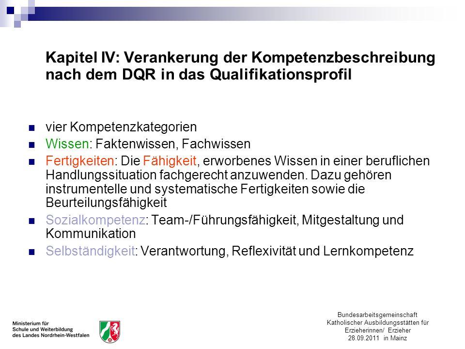 Bundesarbeitsgemeinschaft Katholischer Ausbildungsstätten für Erzieherinnen/ Erzieher 28.09.2011 in Mainz Kapitel IV: Verankerung der Kompetenzbeschre