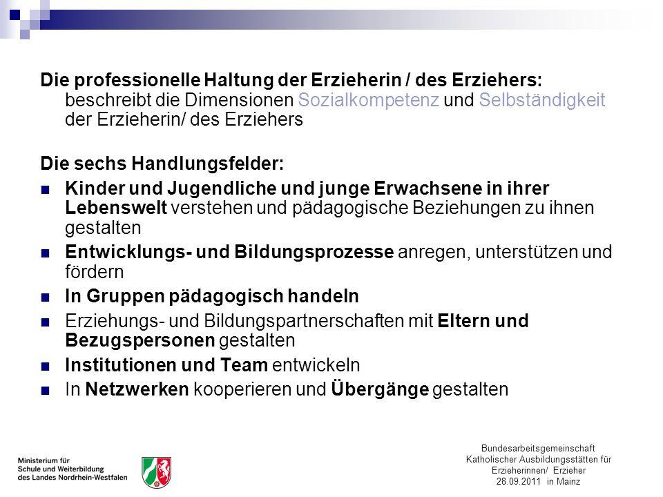 Bundesarbeitsgemeinschaft Katholischer Ausbildungsstätten für Erzieherinnen/ Erzieher 28.09.2011 in Mainz Die professionelle Haltung der Erzieherin /