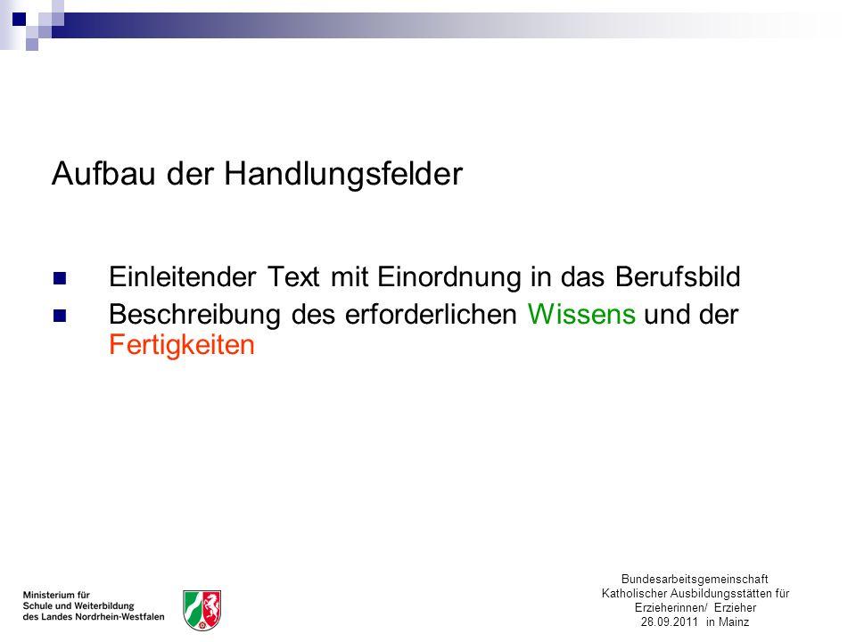 Bundesarbeitsgemeinschaft Katholischer Ausbildungsstätten für Erzieherinnen/ Erzieher 28.09.2011 in Mainz Aufbau der Handlungsfelder Einleitender Text
