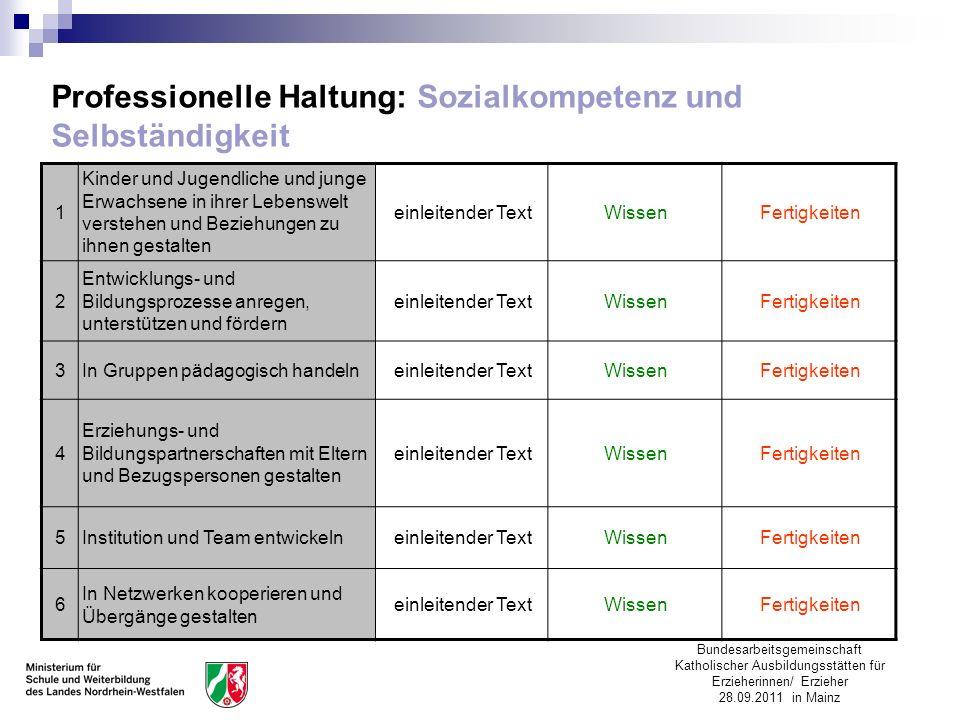Bundesarbeitsgemeinschaft Katholischer Ausbildungsstätten für Erzieherinnen/ Erzieher 28.09.2011 in Mainz Professionelle Haltung: Sozialkompetenz und