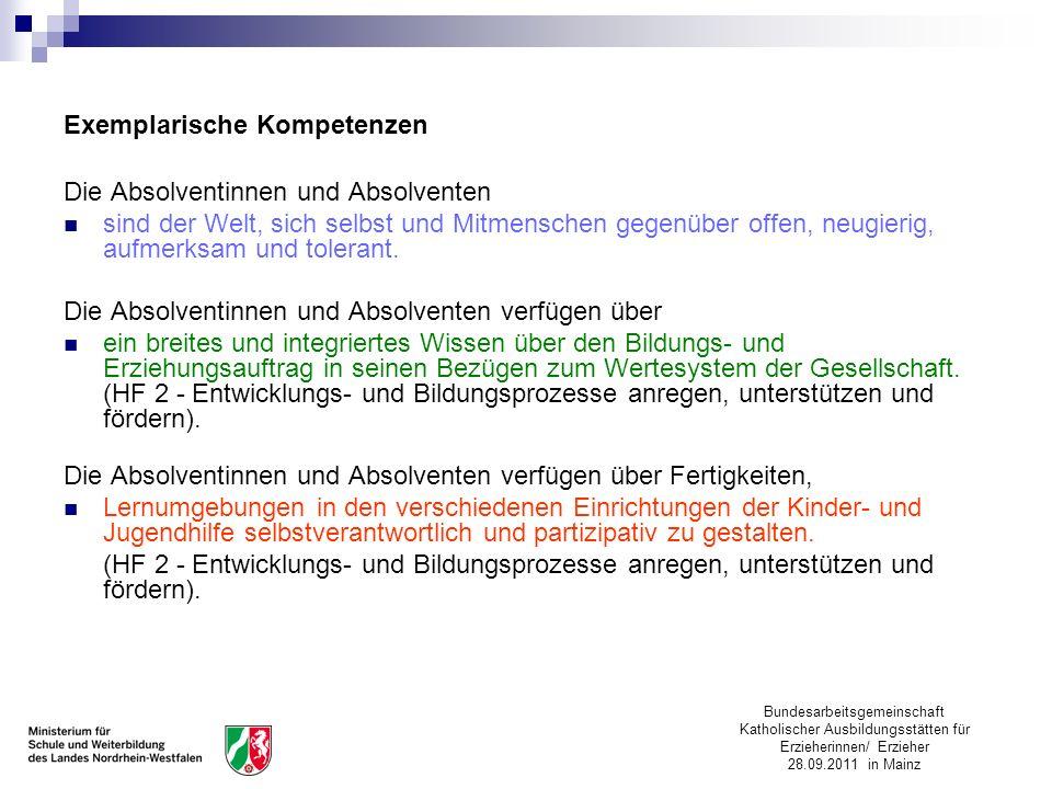 Bundesarbeitsgemeinschaft Katholischer Ausbildungsstätten für Erzieherinnen/ Erzieher 28.09.2011 in Mainz Exemplarische Kompetenzen Die Absolventinnen