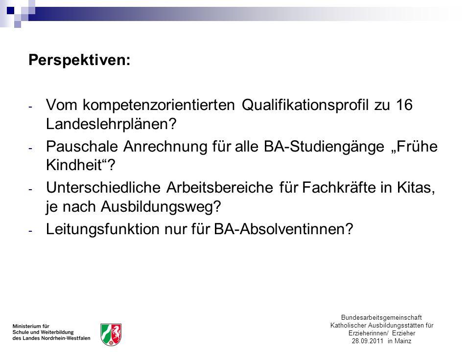 Bundesarbeitsgemeinschaft Katholischer Ausbildungsstätten für Erzieherinnen/ Erzieher 28.09.2011 in Mainz Perspektiven: - Vom kompetenzorientierten Qu