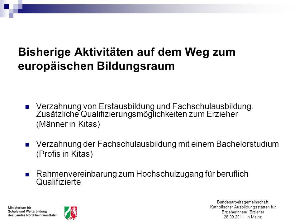 Bundesarbeitsgemeinschaft Katholischer Ausbildungsstätten für Erzieherinnen/ Erzieher 28.09.2011 in Mainz Bisherige Aktivitäten auf dem Weg zum europä