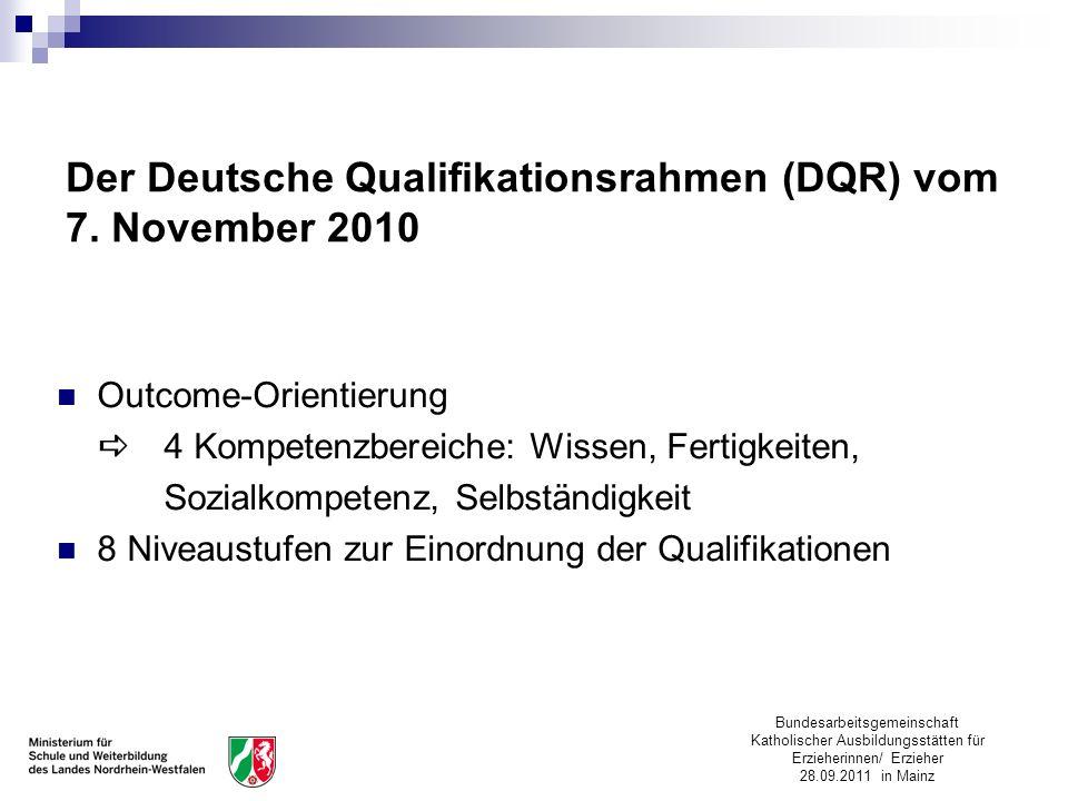 Bundesarbeitsgemeinschaft Katholischer Ausbildungsstätten für Erzieherinnen/ Erzieher 28.09.2011 in Mainz Der Deutsche Qualifikationsrahmen (DQR) vom