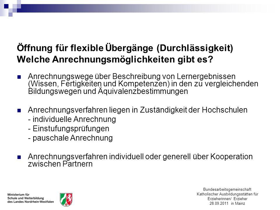 Bundesarbeitsgemeinschaft Katholischer Ausbildungsstätten für Erzieherinnen/ Erzieher 28.09.2011 in Mainz Öffnung für flexible Übergänge (Durchlässigk