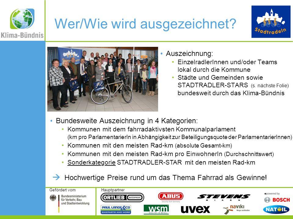 HauptpartnerGefördert vom Auszeichnung: EinzelradlerInnen und/oder Teams lokal durch die Kommune Städte und Gemeinden sowie STADTRADLER-STARS (s.