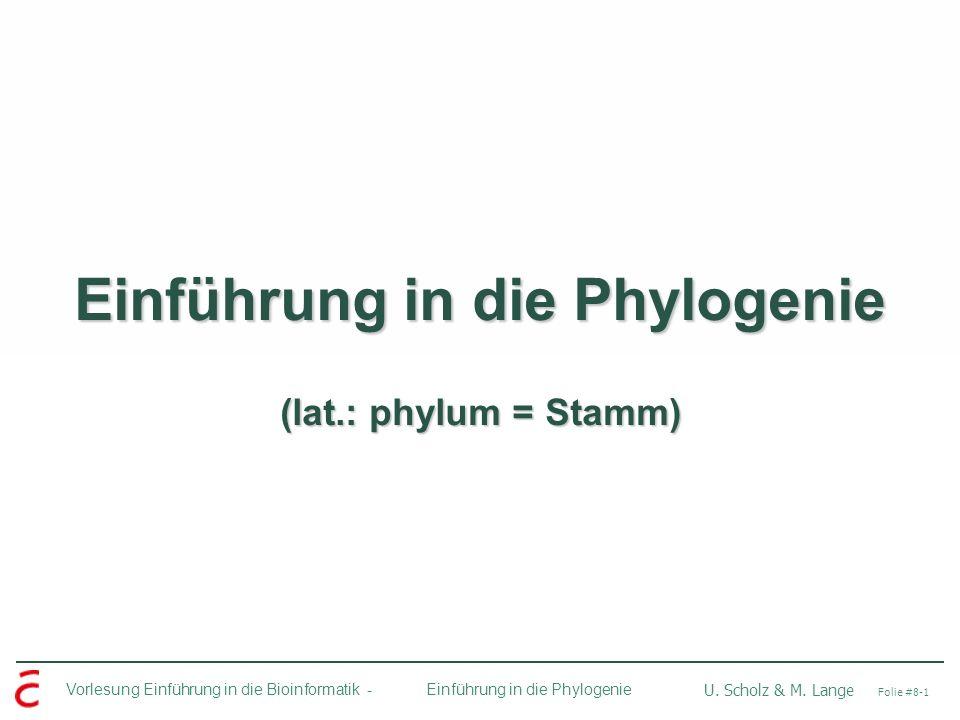 Vorlesung Einführung in die Bioinformatik - U. Scholz & M. Lange Folie #8-1 Einführung in die Phylogenie Einführung in die Phylogenie (lat.: phylum =