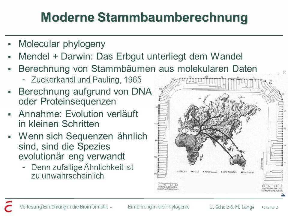Ulf Leser: Algorithmische Bioinformatik, Wintersemester 2005/2006 Vorlesung Einführung in die Bioinformatik - U. Scholz & M. Lange Folie #8-10 Einführ