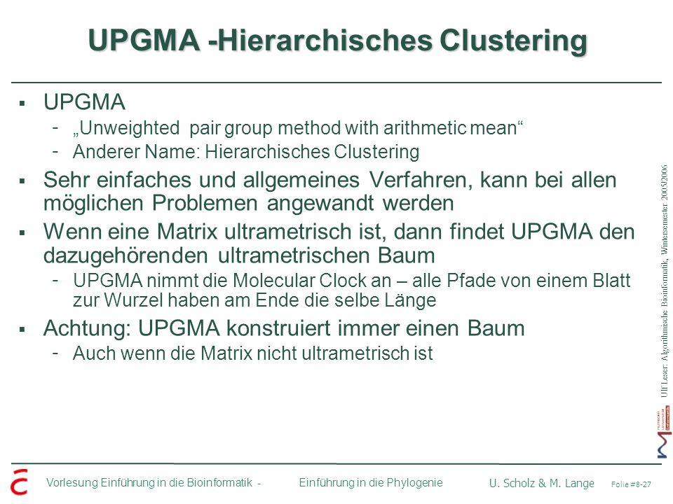 Ulf Leser: Algorithmische Bioinformatik, Wintersemester 2005/2006 Vorlesung Einführung in die Bioinformatik - U. Scholz & M. Lange Folie #8-27 Einführ