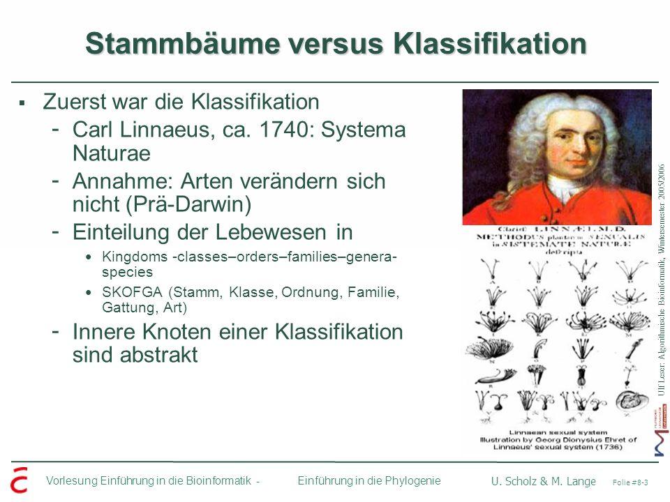 Ulf Leser: Algorithmische Bioinformatik, Wintersemester 2005/2006 Vorlesung Einführung in die Bioinformatik - U. Scholz & M. Lange Folie #8-3 Einführu