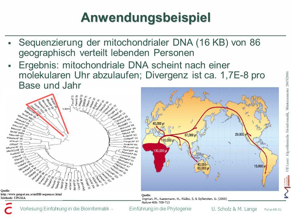 Ulf Leser: Algorithmische Bioinformatik, Wintersemester 2005/2006 Vorlesung Einführung in die Bioinformatik - U. Scholz & M. Lange Folie #8-31 Einführ