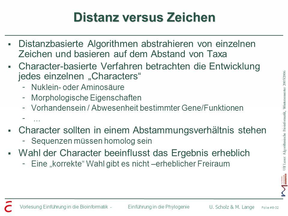 Ulf Leser: Algorithmische Bioinformatik, Wintersemester 2005/2006 Vorlesung Einführung in die Bioinformatik - U. Scholz & M. Lange Folie #8-32 Einführ