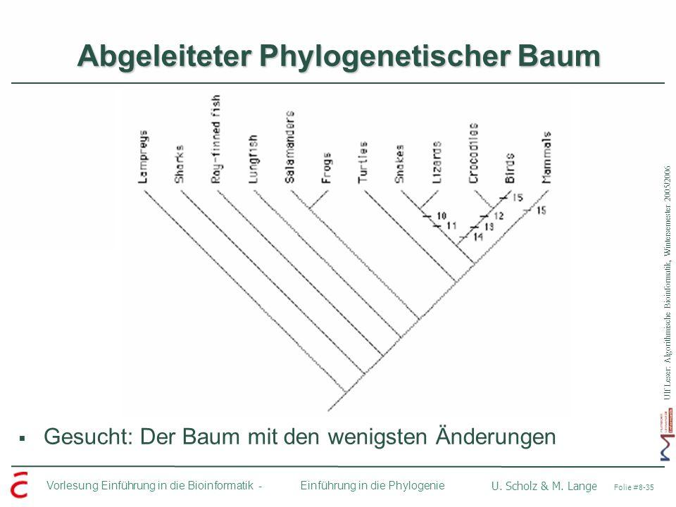 Ulf Leser: Algorithmische Bioinformatik, Wintersemester 2005/2006 Vorlesung Einführung in die Bioinformatik - U. Scholz & M. Lange Folie #8-35 Einführ