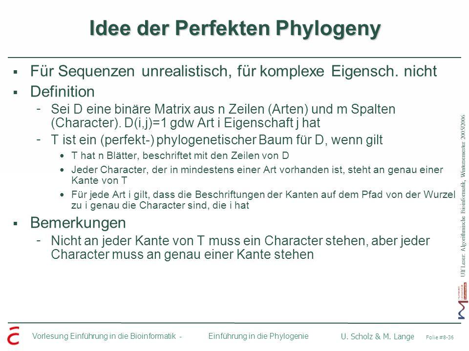 Ulf Leser: Algorithmische Bioinformatik, Wintersemester 2005/2006 Vorlesung Einführung in die Bioinformatik - U. Scholz & M. Lange Folie #8-36 Einführ