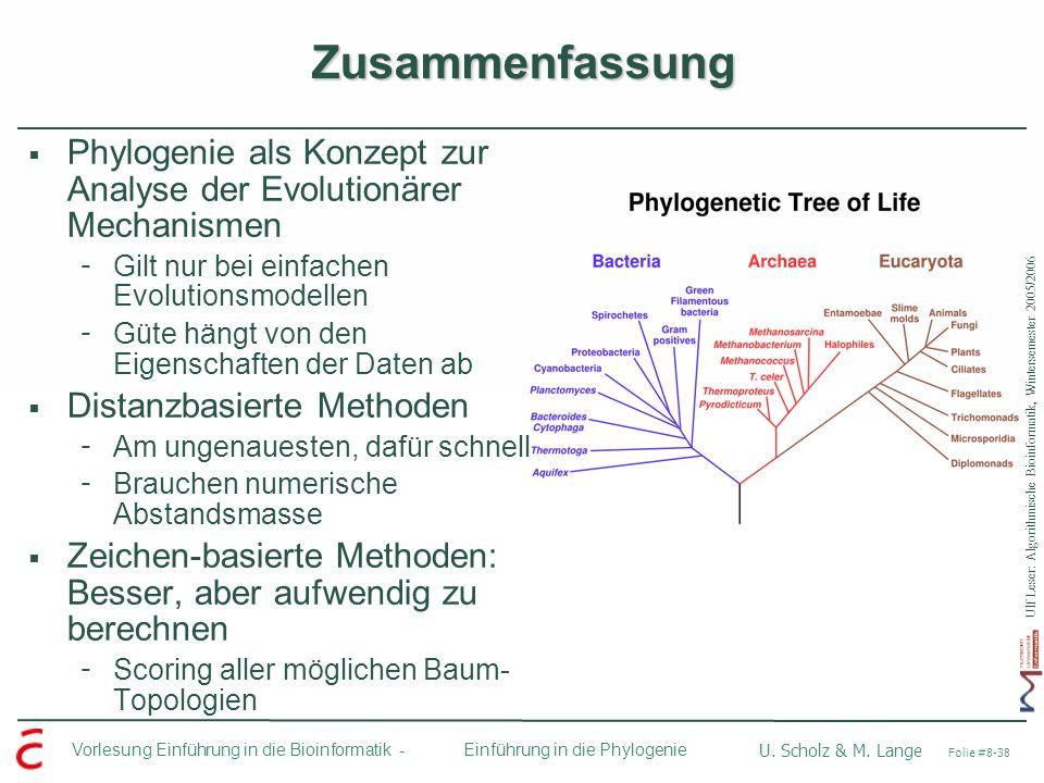 Ulf Leser: Algorithmische Bioinformatik, Wintersemester 2005/2006 Vorlesung Einführung in die Bioinformatik - U. Scholz & M. Lange Folie #8-38 Einführ