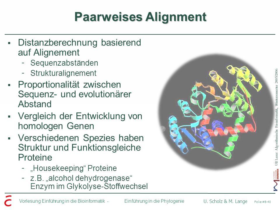 Ulf Leser: Algorithmische Bioinformatik, Wintersemester 2005/2006 Vorlesung Einführung in die Bioinformatik - U. Scholz & M. Lange Folie #8-40 Einführ