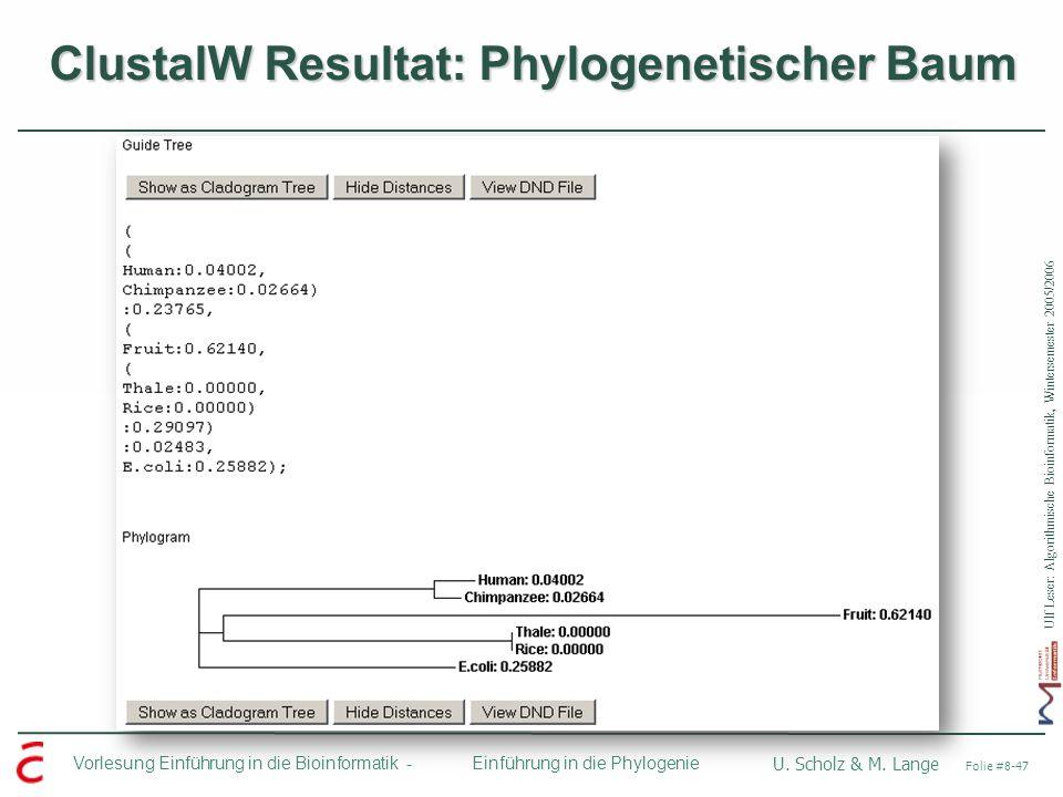 Ulf Leser: Algorithmische Bioinformatik, Wintersemester 2005/2006 Vorlesung Einführung in die Bioinformatik - U. Scholz & M. Lange Folie #8-47 Einführ