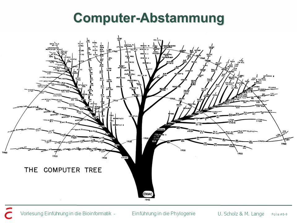 Ulf Leser: Algorithmische Bioinformatik, Wintersemester 2005/2006 Vorlesung Einführung in die Bioinformatik - U. Scholz & M. Lange Folie #8-9 Einführu