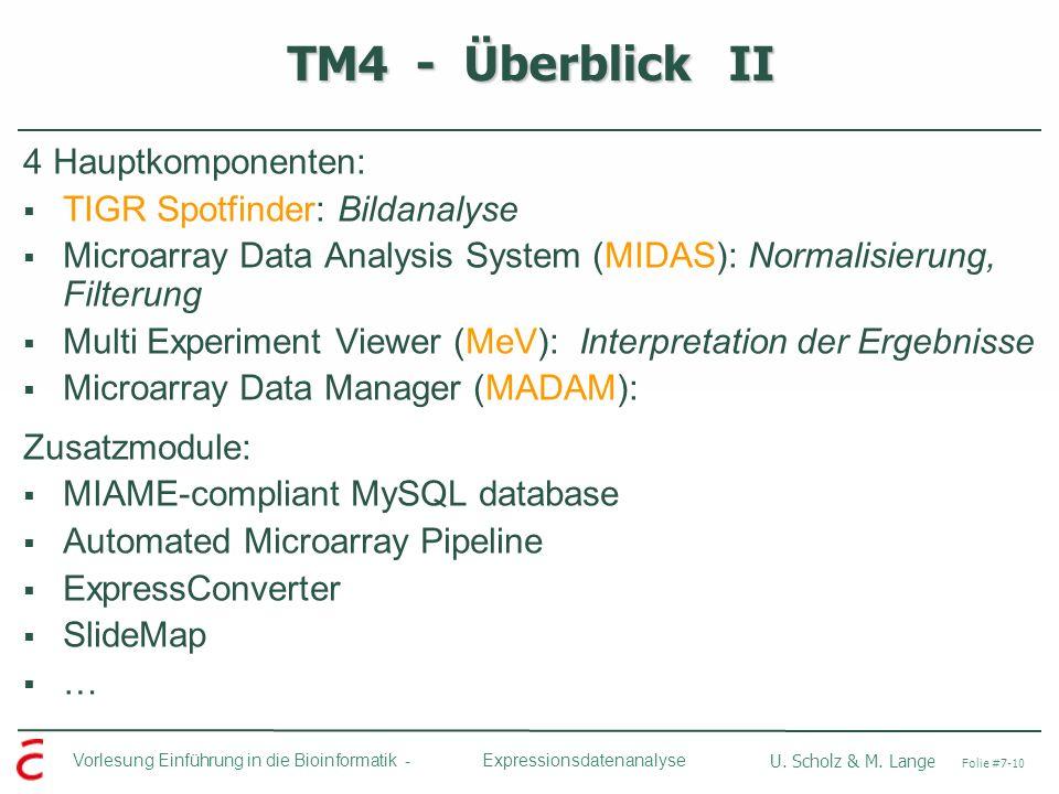 Vorlesung Einführung in die Bioinformatik - U. Scholz & M. Lange Folie #7-10 Expressionsdatenanalyse TM4 - Überblick II 4 Hauptkomponenten: TIGR Spotf