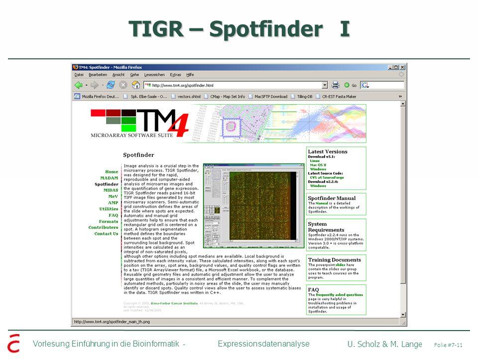 Vorlesung Einführung in die Bioinformatik - U. Scholz & M. Lange Folie #7-11 Expressionsdatenanalyse TIGR – Spotfinder I