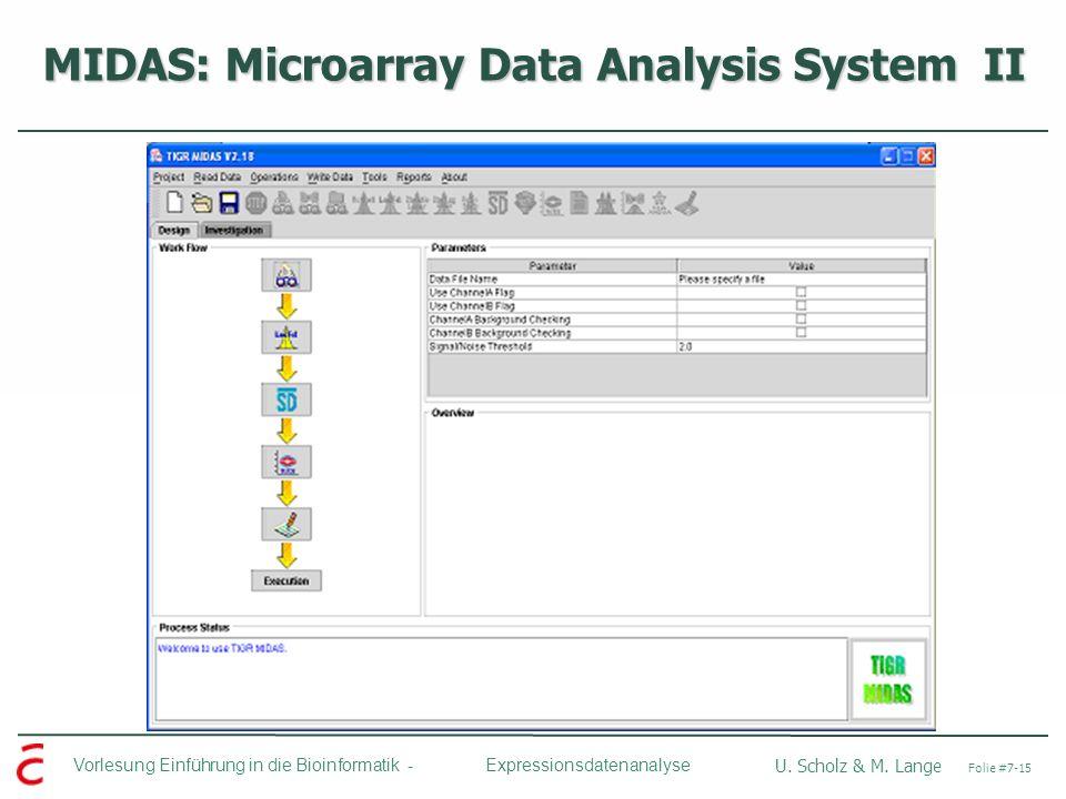 Vorlesung Einführung in die Bioinformatik - U. Scholz & M. Lange Folie #7-15 Expressionsdatenanalyse MIDAS: Microarray Data Analysis System II