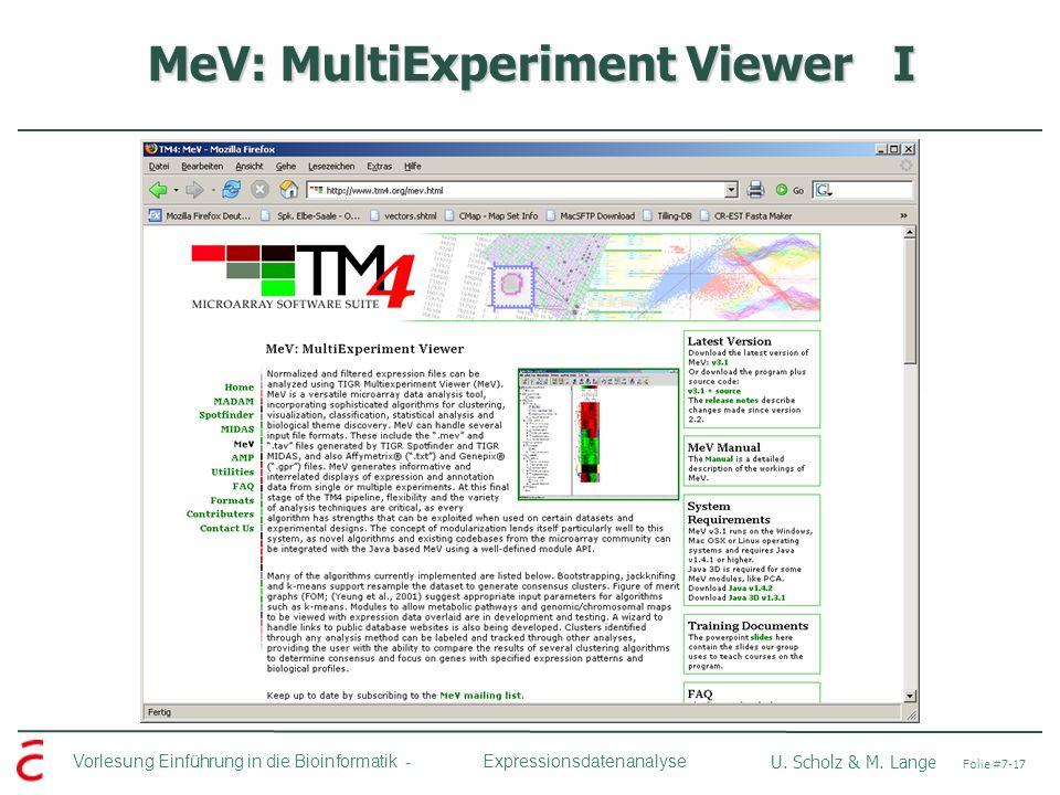 Vorlesung Einführung in die Bioinformatik - U. Scholz & M. Lange Folie #7-17 Expressionsdatenanalyse MeV: MultiExperiment Viewer I
