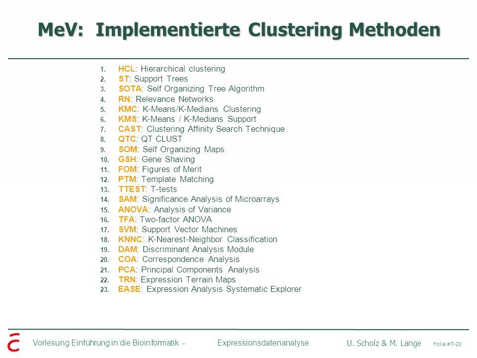 Vorlesung Einführung in die Bioinformatik - U. Scholz & M. Lange Folie #7-20 Expressionsdatenanalyse MeV: Implementierte Clustering Methoden 1. HCL: H