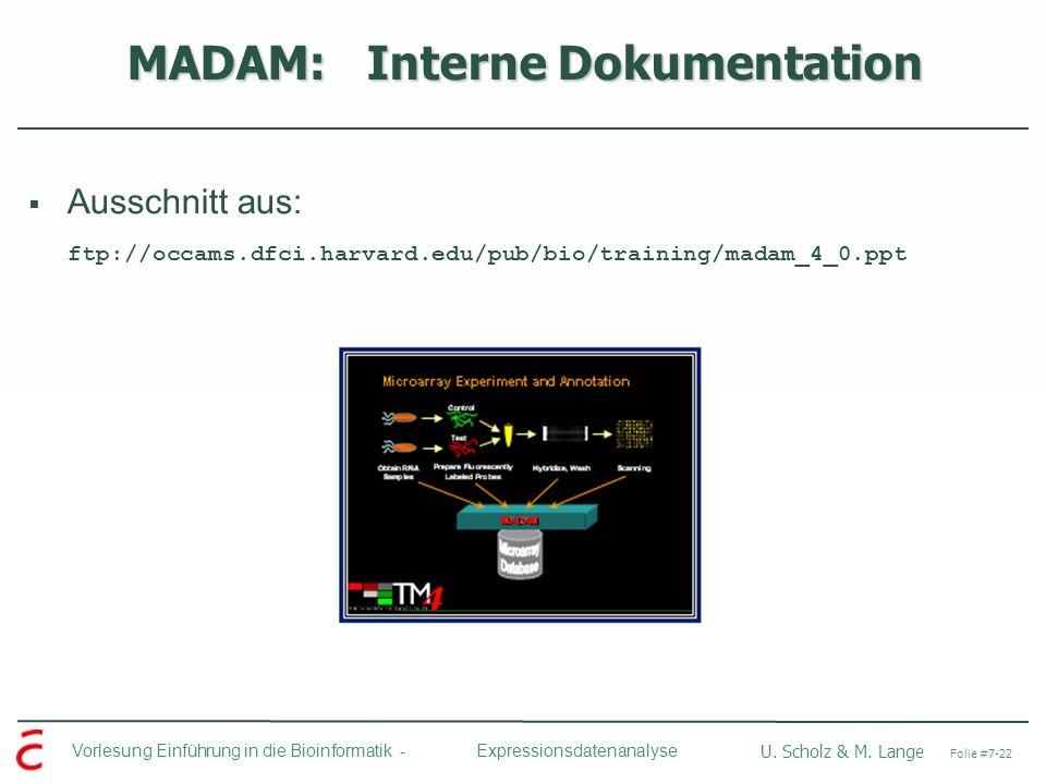 Vorlesung Einführung in die Bioinformatik - U. Scholz & M. Lange Folie #7-22 Expressionsdatenanalyse MADAM: Interne Dokumentation Ausschnitt aus: ftp:
