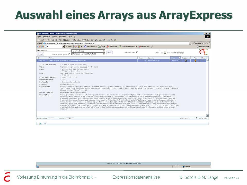 Vorlesung Einführung in die Bioinformatik - U. Scholz & M. Lange Folie #7-25 Expressionsdatenanalyse Auswahl eines Arrays aus ArrayExpress