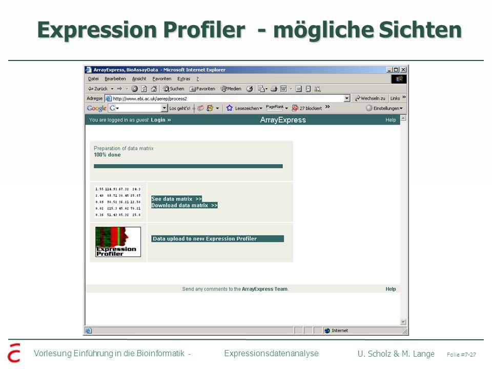 Vorlesung Einführung in die Bioinformatik - U. Scholz & M. Lange Folie #7-27 Expressionsdatenanalyse Expression Profiler - mögliche Sichten Expression